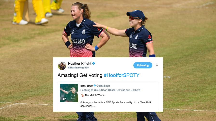 England's captain Heather Knight with a call to get voting for the ICC Women's World Cup final superstar