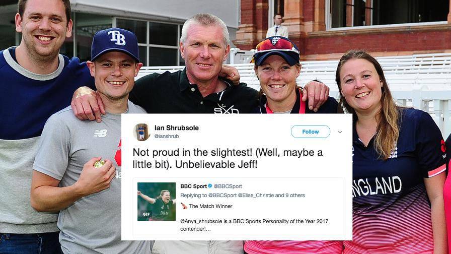 Anya's Dad, Ian Shrubsole, with probably the tweet of the evening,