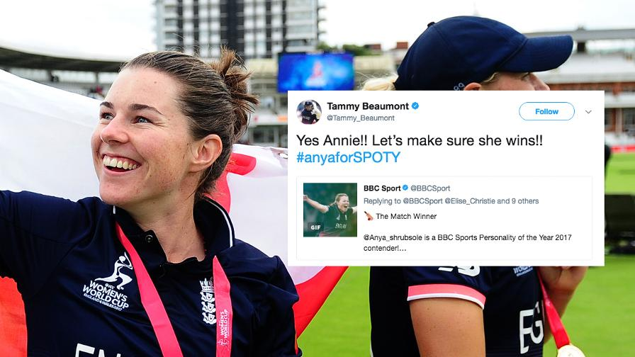England's opener, Tammy Beaumont, put in an early bid for the hashtag to support Anya with