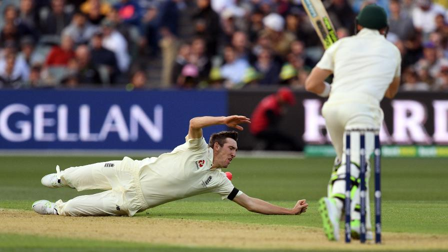 A GAME OF INCHES – the seam bowler almost had a caught and bowled to his name earlier in proceedings