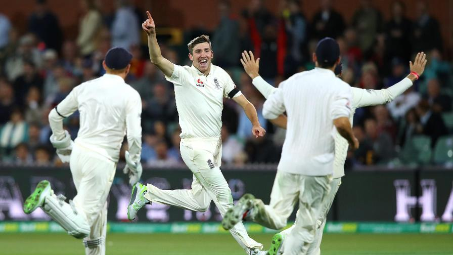 HANDS UP IF YOU'RE A HAPPY CAMPER –a fitting celebration on a memorable first day in whites for England!