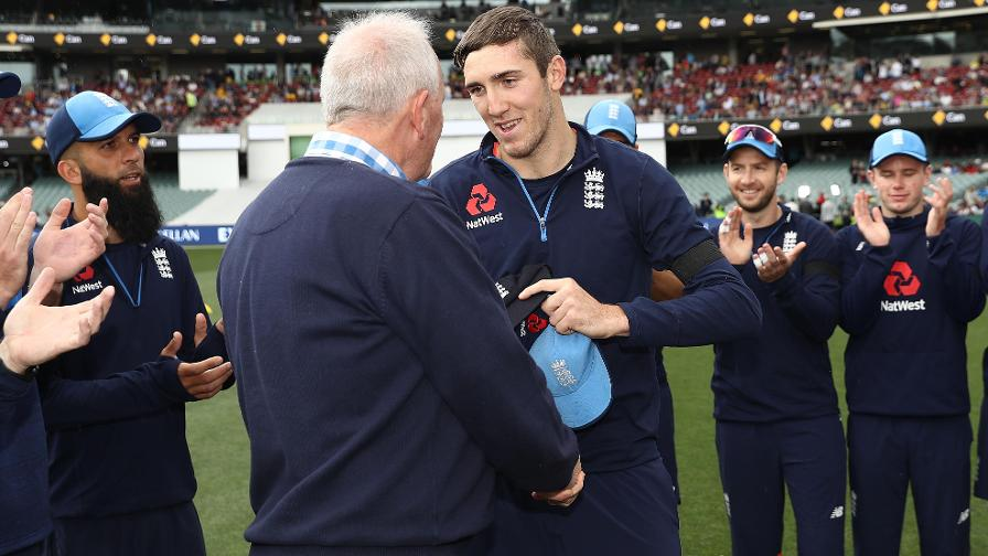 IF THE CAP FITS – Overton was presented with his Test cap by former England off-spinner John Emburey