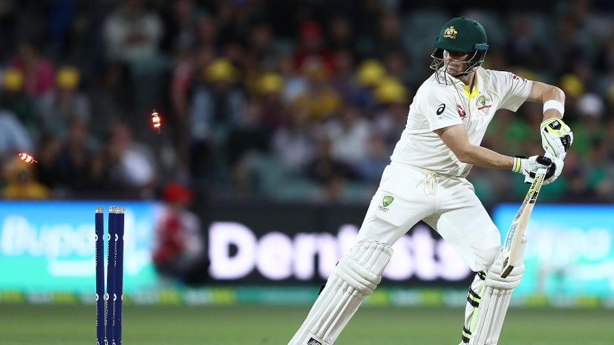 THE BIG ONE – Overton wasn't disappointed for long as he bowled Australia captain Steve Smith to claim his maiden Test wicket