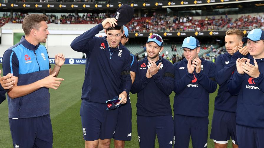 ONE FOR THE PHOTO ALBUM –Craig Overton found out he was to make his Test debut an hour before the warm-up for the second Ashes match, at the Adelaide Oval