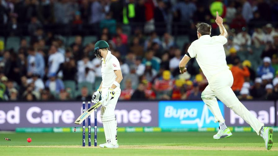 He becomes the 36th bowler to dismiss the number one-ranked batsman in the world with their first Test wicket