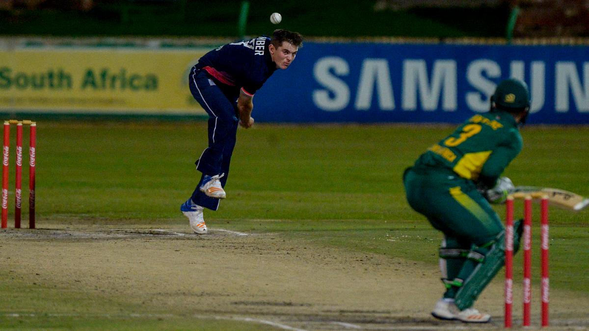 Ethan Bamber of England during the U19 Tri Series match between South Africa and England at Senwes Park