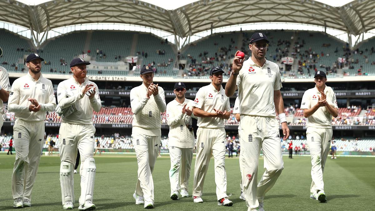 James Anderson salutes after taking his first five-wicket haul in Australia