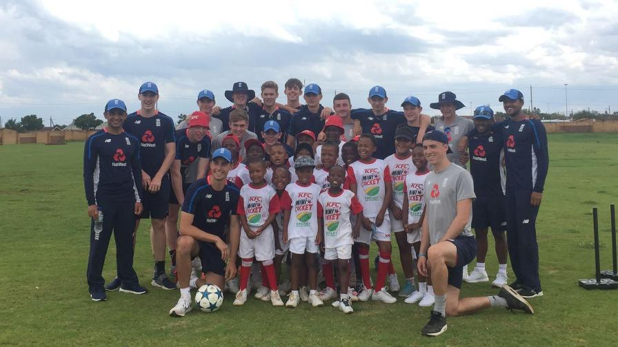 England's Under-19s enjoyed an unforgettable day at a South African township this week, as they continue the countdown to next month's World Cup in New Zealand.