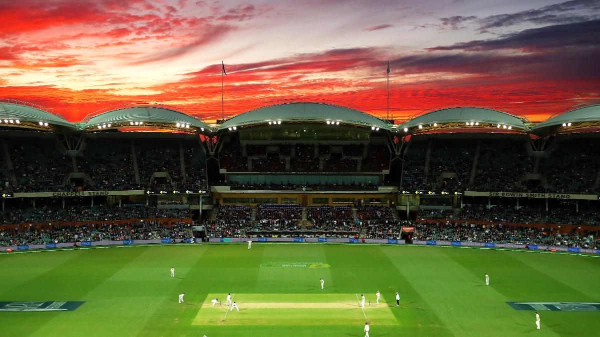 The suns sets over the Adelaide Oval