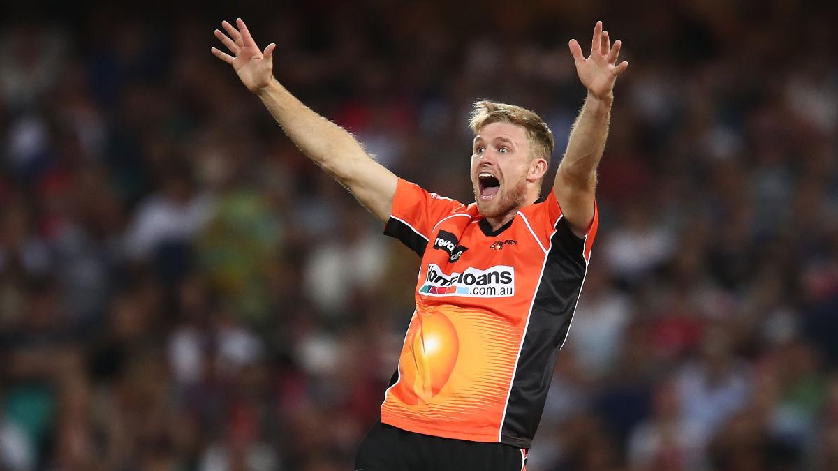 David Willey in action for Perth Scorchers in the BBL
