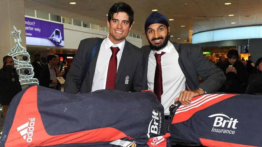 Cook and Monty Panesar arrive back in London after the stunning win in India