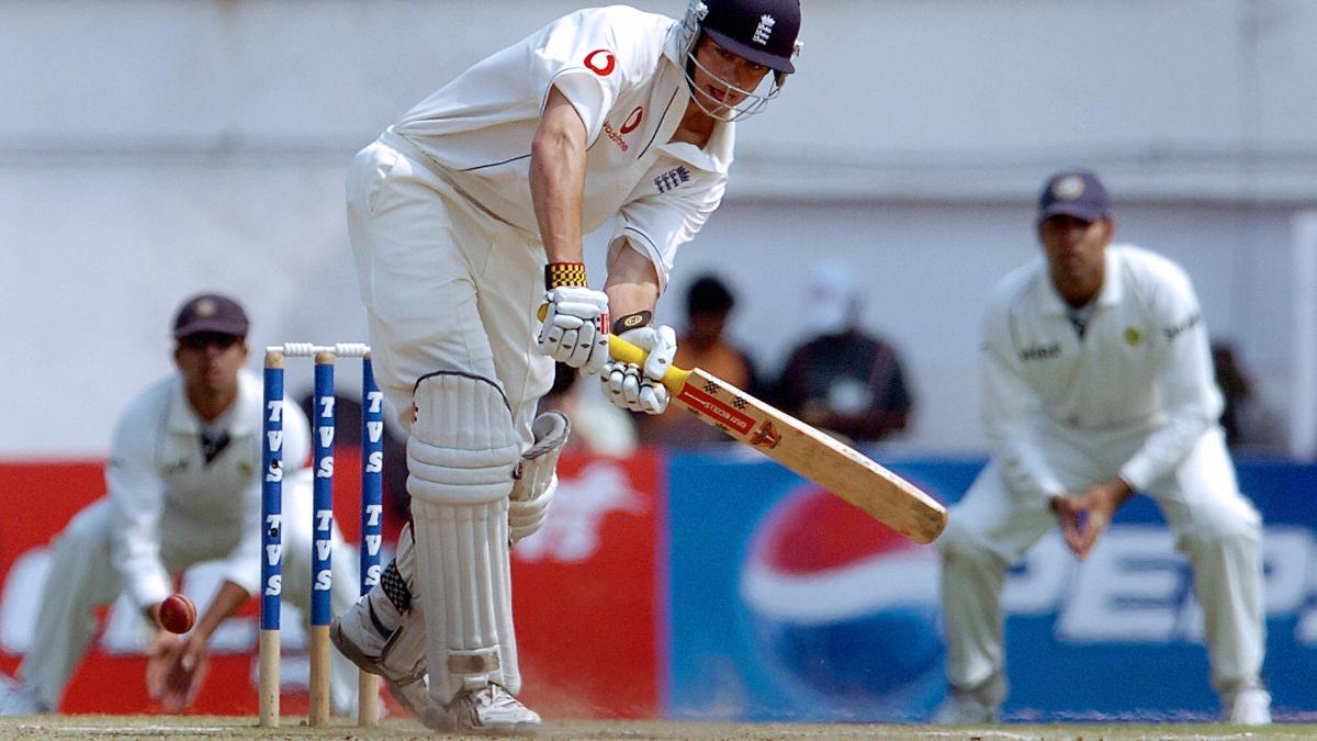 Alastair Cook clips one through the legside on debut in Nagpur 2006