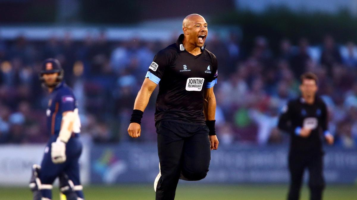 Tymal Mills celebrates a wicket for Sussex Sharks