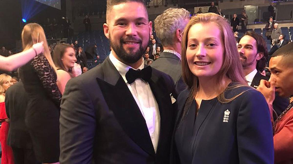 England's team award was presented by Sam Allardyce and boxer Tony Bellew, pictured here with spinner Sophie Ecclestone