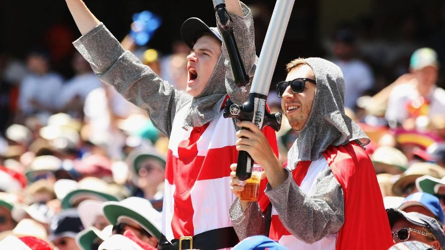 English knights cheer on Joe Root's team