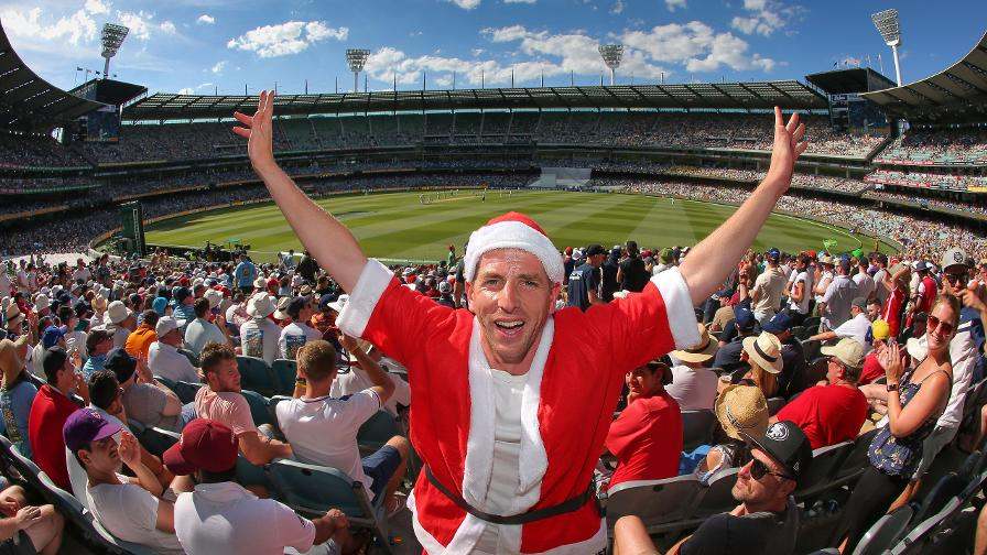 Santa rewarded himself for a job well done with a day at the cricket