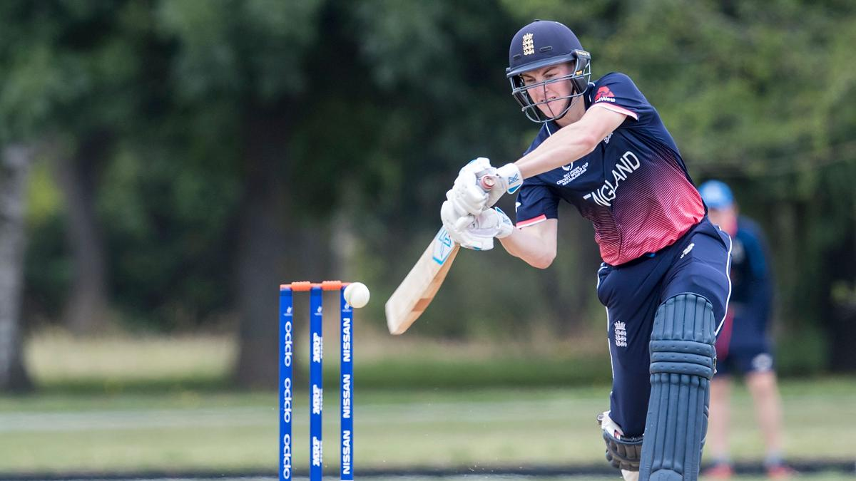 Will Jacks of England bats during the ICC U19 Cricket World Cup Warm Up match between Ireland and England