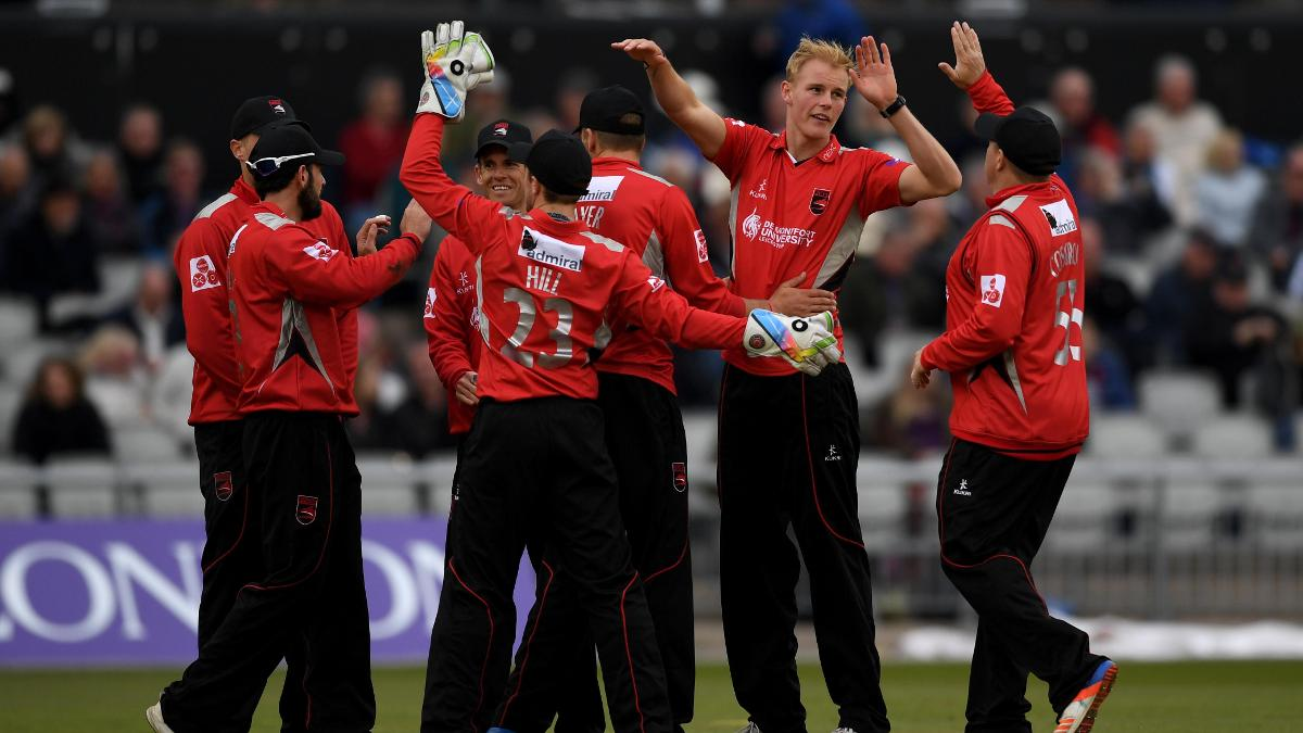 Zak Chappell celebrates the wicket of Lancashire's Liam Livingstone