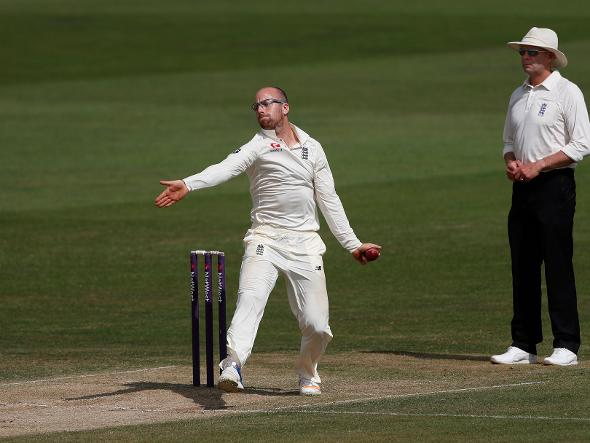 Jack Leach in action for England Lions