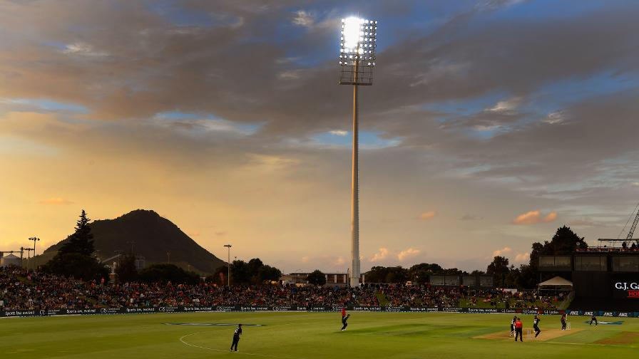 The sun begins to set on the Bay Oval in Tauranga