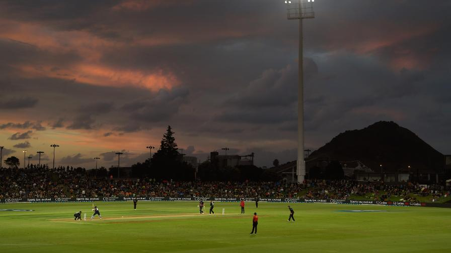 Mount Maunganui in the background as England headed towards victory