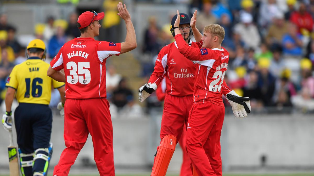 Matthew Parkinson celebrates a wicket for Lancashire Lightning