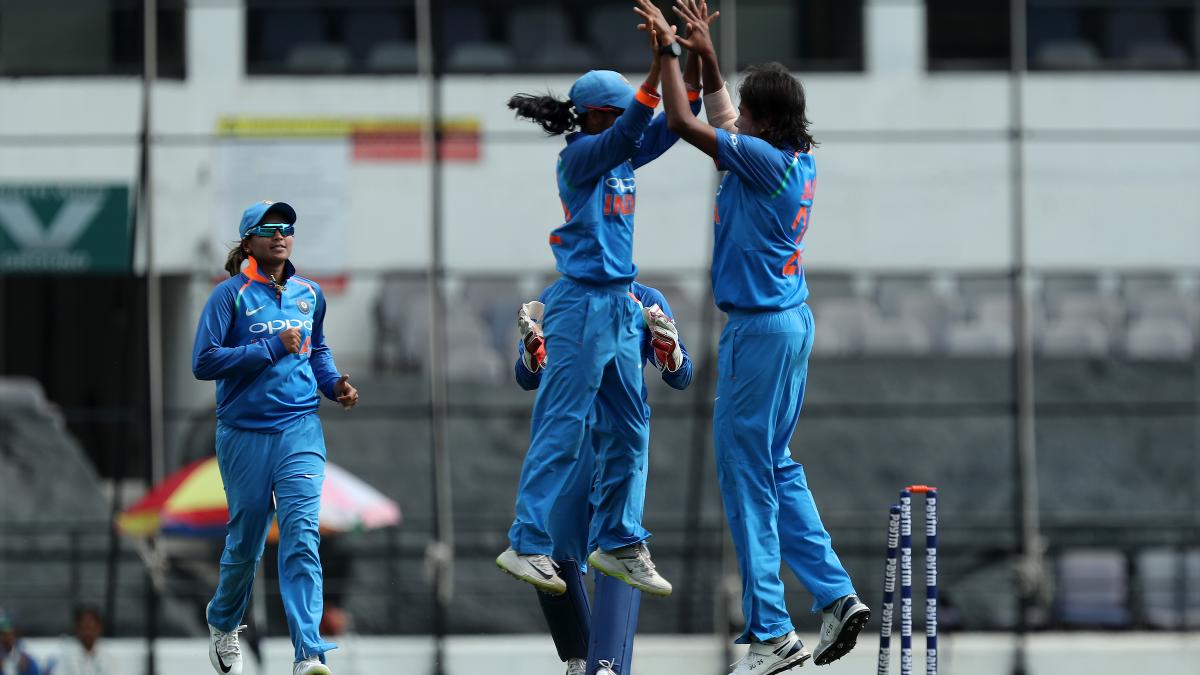 Jhulan Goswami celebrates the wicket of Danni Wyatt