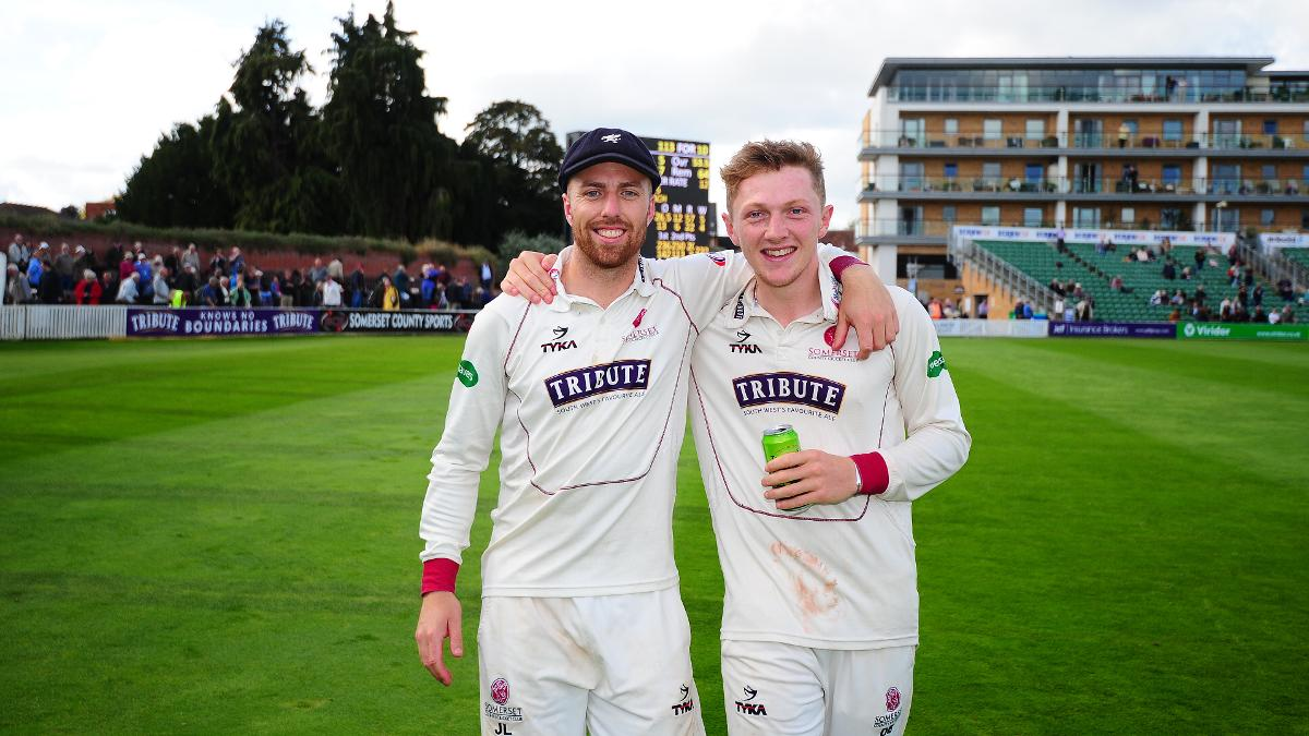Bess with Somerset team-mate Jack Leach, who missed out on England selection with a broken thumb