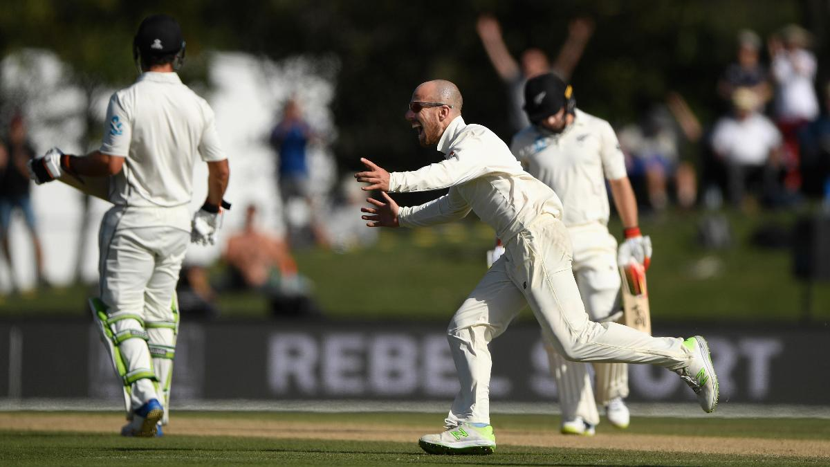 Jack Leach, who graduated from Cardiff, celebrates a wicket in New Zealand