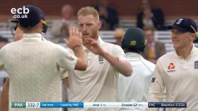 Shadab out caught Bairstow bowled Stokes
