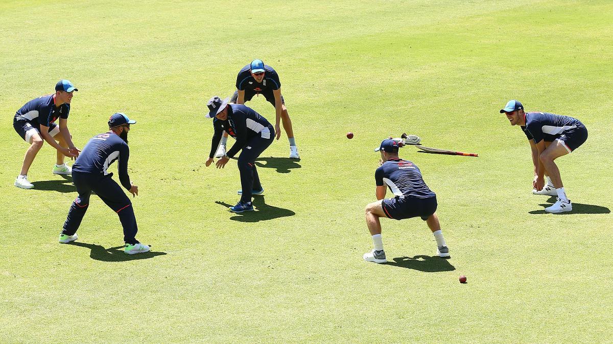 Trevor Bayliss leads a fielding drill in Australia