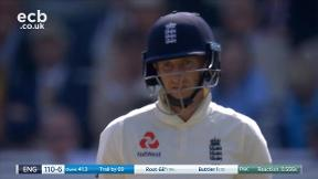 Root out lbw bowled Abbas