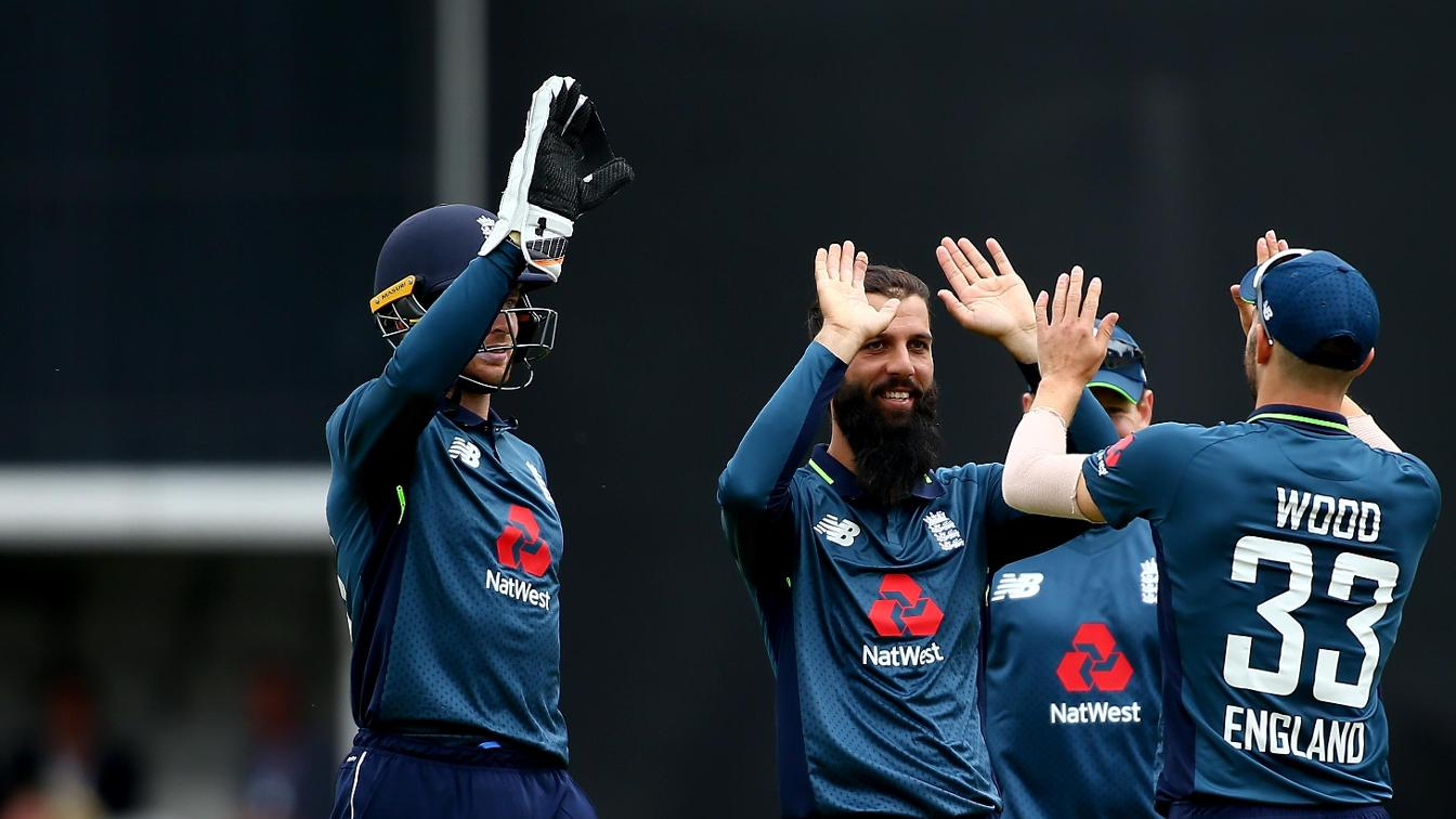 Moeen Ali celebrates against Australia
