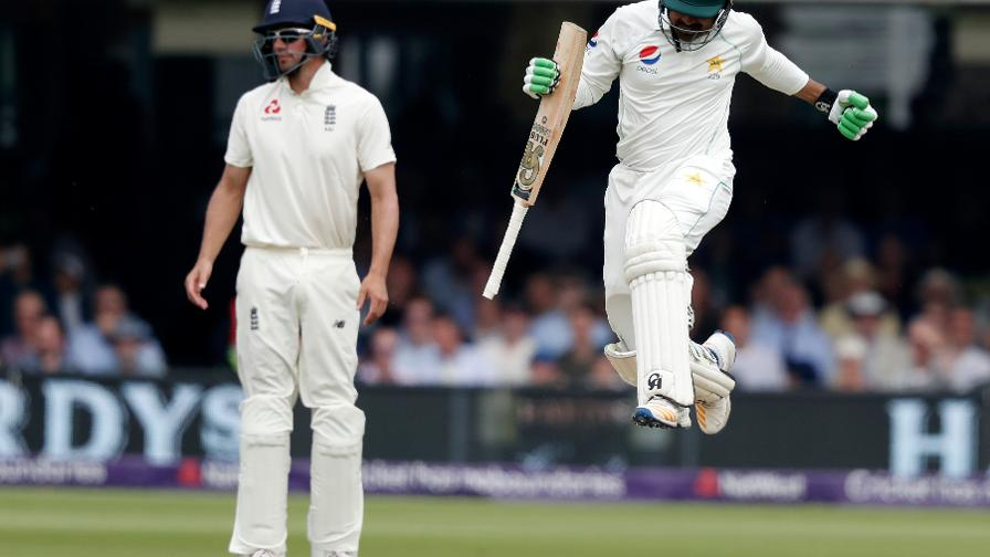 Haris Sohail jumps for joy as he hits the winnings runs for Pakistan at Lord's
