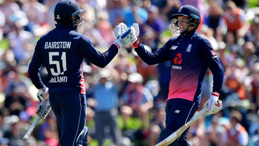 Jonny Bairstow is congratulated by England and Yorkshire team-mate Joe Root after scoring a ton in the 4th ODI against New Zealand