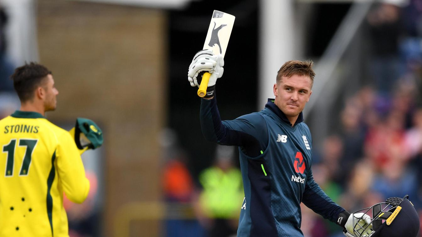 Jason Roy salutes after scoring his hundred
