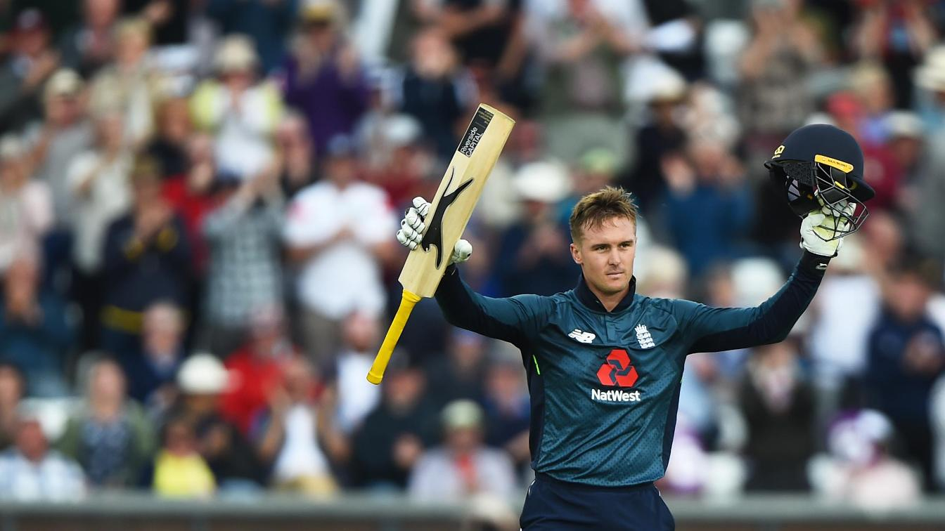 Jason Roy celebrates his hundred