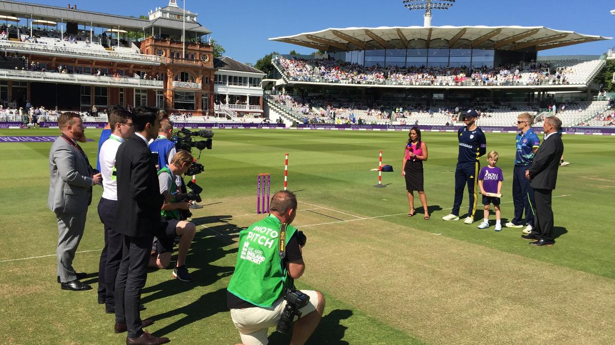 James Vince and Sam Billings prepare for the toss at a sun-soaked Lord's