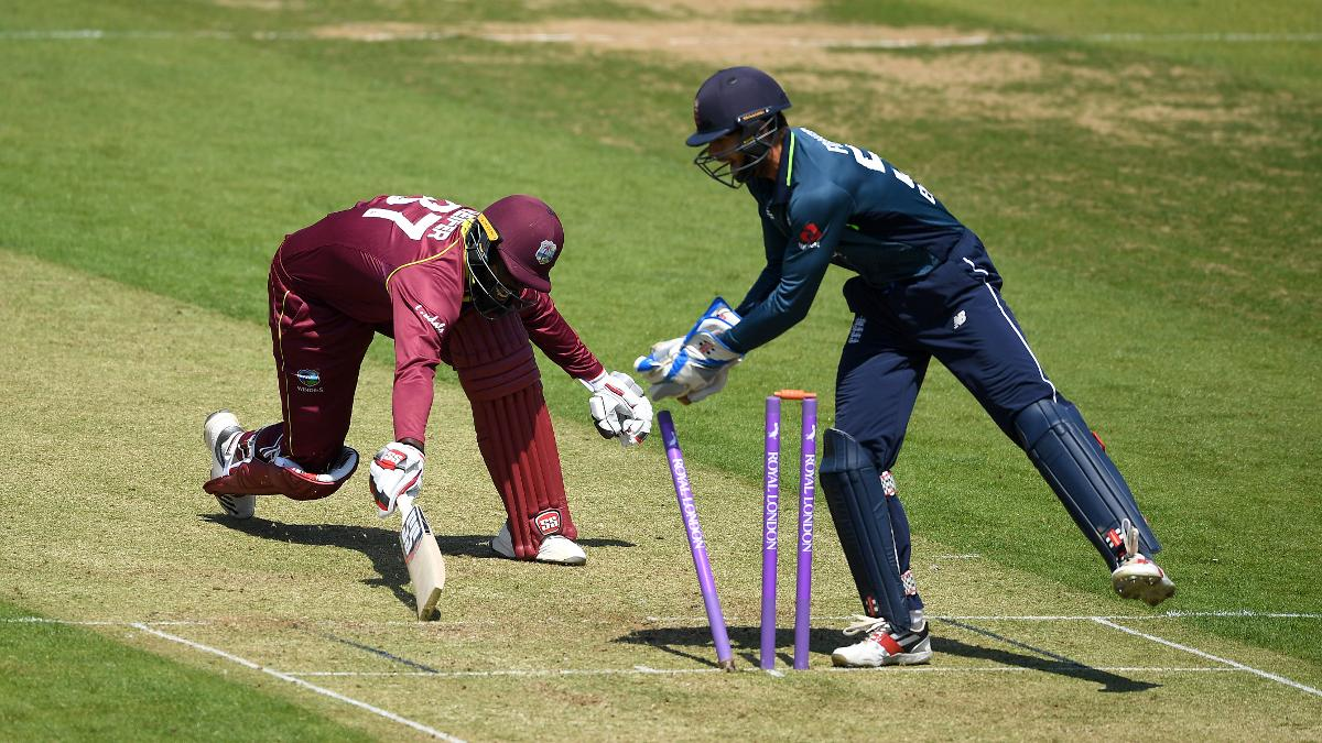 Ben Foakes reacts quickly to remove Raymon Reifer of West Indies A