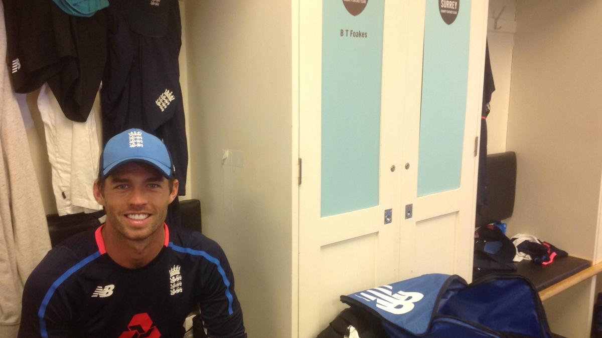 England Lions wicketkeeper Ben Foakes takes his usual spot in the Kia Oval dressing room