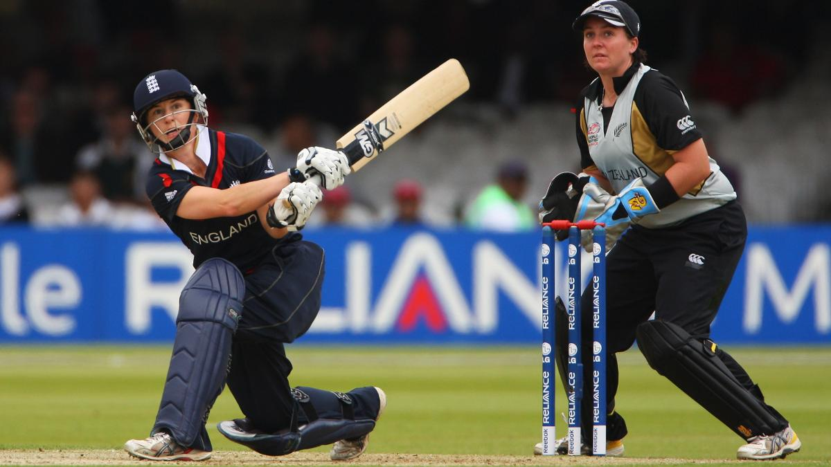 Claire Taylor hits out during the ICC World Twenty20 Final at Lord's in 2009