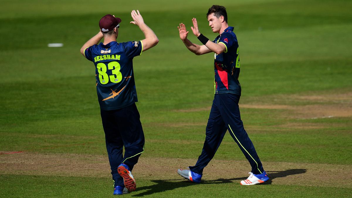 Adam Milne of Kent celebrates taking a wicket in last year's Blast competition
