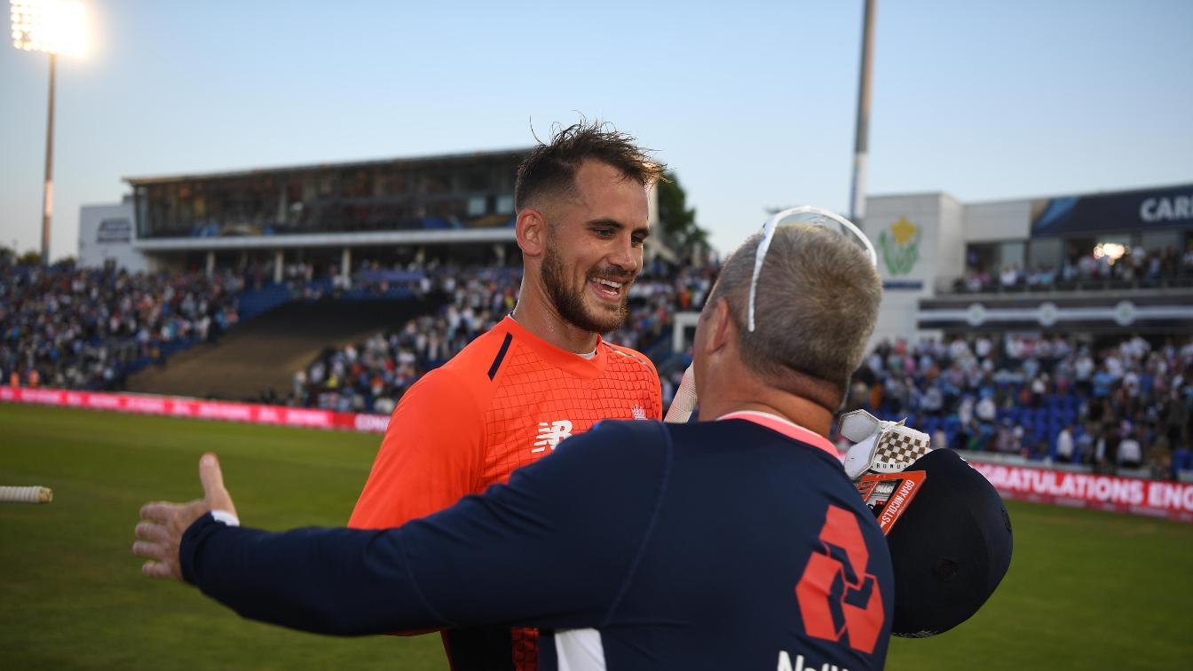 England coach Paul Farbrace congratulates Alex Hales