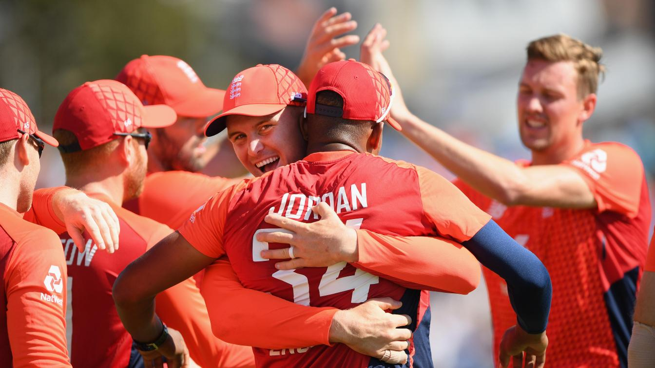 Chris Jordan celebrates his amazing catch