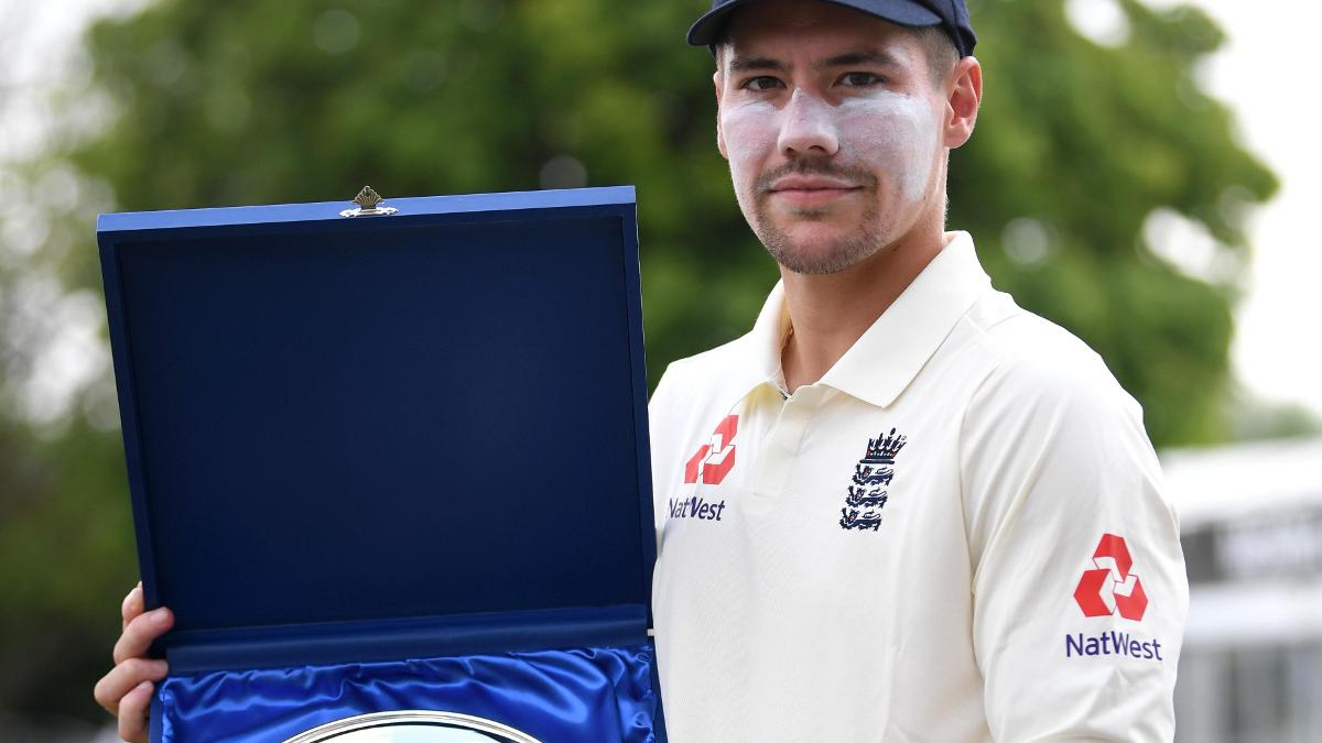 England Lions captain Rory Burns collects a silver plate after beating India A