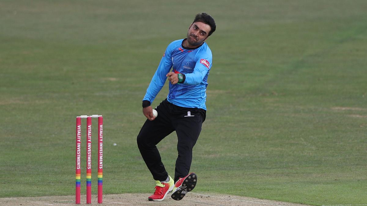 Rashid Khan bowling for Sussex Sharks