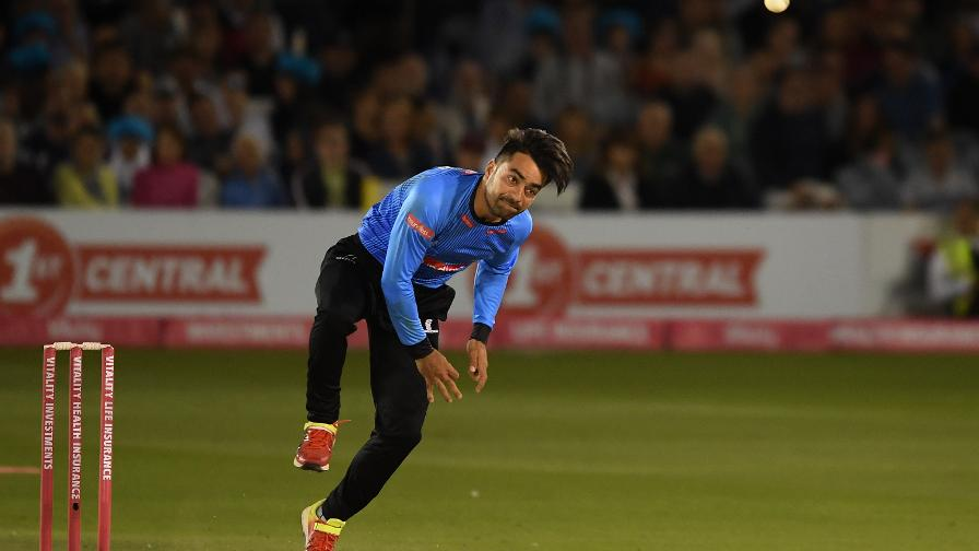 #1 T20 bowler in the world Rashid Khan in action for Sussex