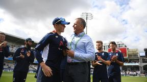Alec Stewart presents Ollie Pope with his first Test cap