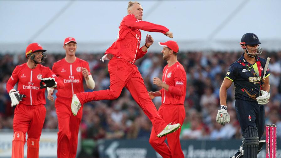 Lancashire Lightning celebrate a wicket en route to Finals Day