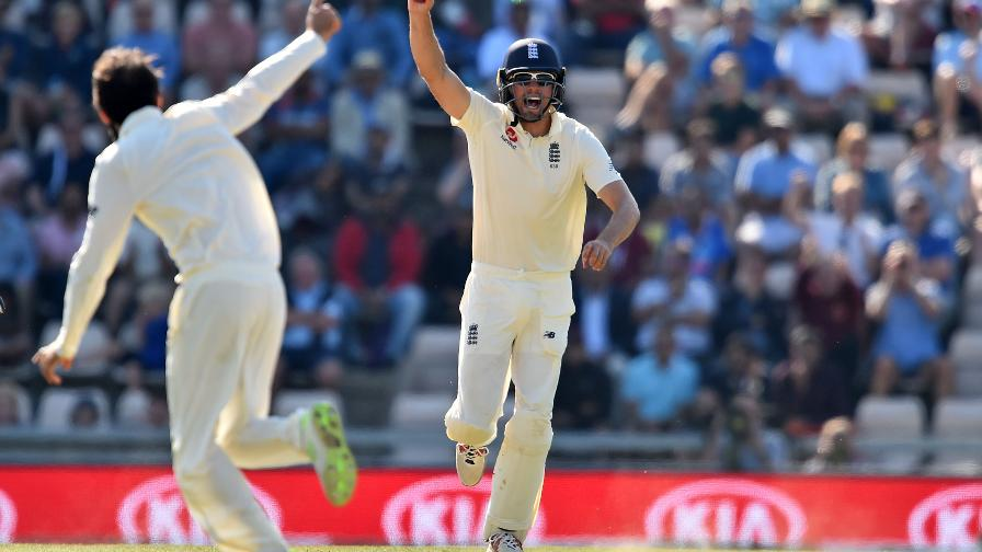 Cook, in his 160th Test, celebrates the key wicket of Virat Kohli at the Ageas Bowl